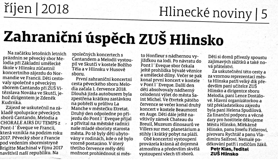 Zahraniční úspěch ZUŠ Hlinsko